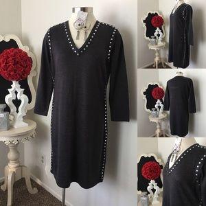 🌺 Andrew Marc NY  Gray Knit Dress w/ Silver Stud